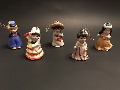 5 Porcelain Doll Bells Children Of The World Collection Mint Condition In Box