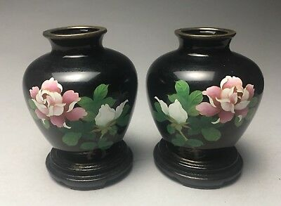 Pair of Japanese Ginbari Cloisonné Enamel Cabinet Vases With Stands