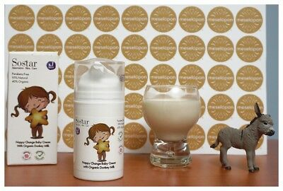 Greek Baby Cream For Changing Nappy Diaper Enriched With Bio Donkey Milk 75ml