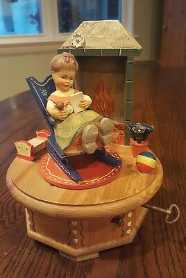 Anri Thorens Swiss Musical Carved Wood Music Box Plays Scarlet Ribbons, 1970