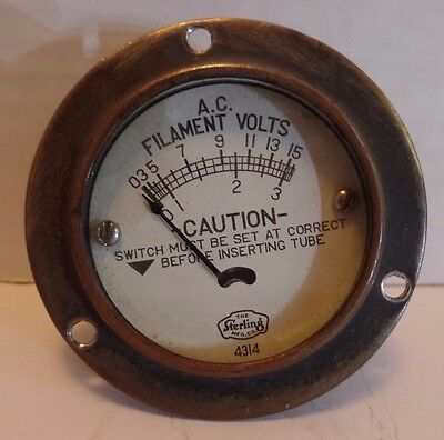 "Sterling 2 5/8""dia A.C. Filament Volts Vacuum Tube Tester Panel Meter TESTED"