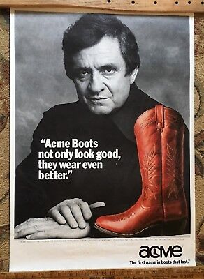 poster Johnny Cash Advertising Acme Boots 1980's