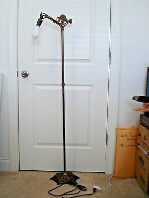 VINTAGE or  ANTIQUE  Ornate  Brass Plated - Cast Iron Bridge Floor Lamp Light
