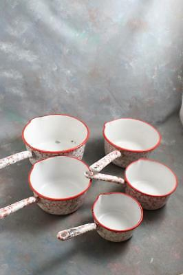 Antique French Snow on Mountain Red & White Enamelware Graniteware Set of 5 Pots