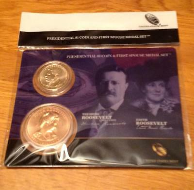 2013 Theodore Roosevelt  Presidential 1$ Coin and First Spouse Medal Set