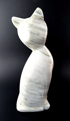 """Marble Stone Carved 7"""" Tall Cat Figurine Statue (Le)"""