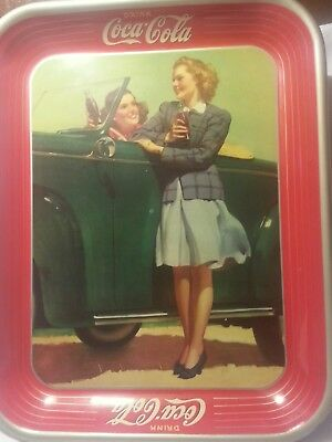 COCA COLA TIN Metal Serving Tray VINTAGE Antique 1942 GIRLS in Car WWII