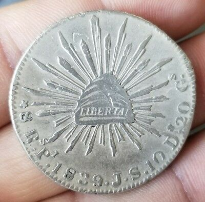 Mexico 1839 8 Reales Rs Pi JS Scarce Date Potosi Mint Silver Mexican Coin