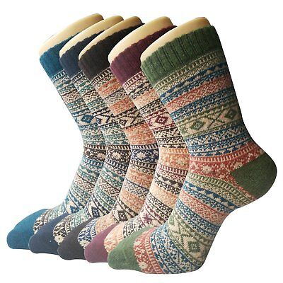 Winter Crew Womens Vintage Style Thick Wool Warm Socks Comfortable Suitable