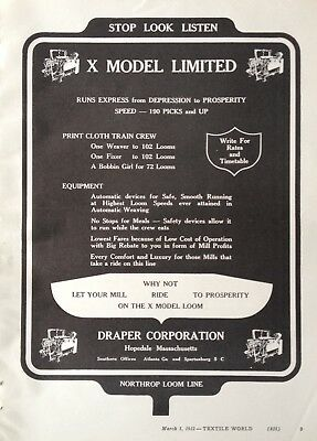 1932 Ad(H6)~Draper Corp. Hopedale, Mass. Model X Limited Textile Loom