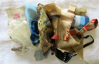 Large Lot Of Antique Silk Ribbon~Velvet~Floral~Patterns~Textured~As Is~Repurpose