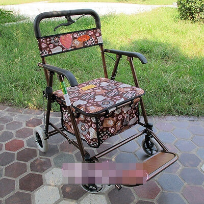 Bronze 4 Wheels Convenient Foldable Shopping Luggage Trolleys With Seat *