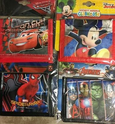 Childrens Licensed Wallets -  Cartoons and Super heros - choose 1