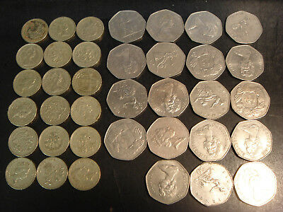 Great Britain UK Lot of 18 Pound Coins 1983+ & 19 Large 50 Pence 1969-1985