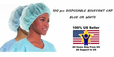 100 Disposable Hair Net Bouffant Cap