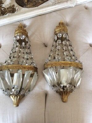 SHABBY ANTIQUE Vtg PETITE CRYSTAL PRISM BRASS BARBOLA SWAGS Sconces