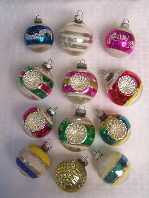 Vintage Shiny Brite Glass Ornaments Double Indents, Mica Striped, Stencil