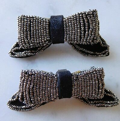 "Pair Antique 2"" Steel Cut Black Leather BOW Shoe Clips Vtg RARE Shape"