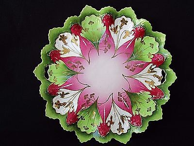"""Vintage 10.5"""" Dish ~ Made in Austria STAR #864 ~ Pink Green Gold Open Handles"""