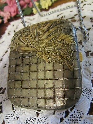 Rare Antique / Vintage Art Deco / Nouveau Enameled Brass Cigarette Case / Holder