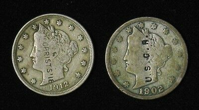 Lot of 2 Liberty Head Nickels Counterstamped 1902 U.S.G.R., 1912 CHRISTS'18