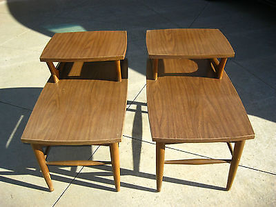 Pair of Vintage Danish Style Setp END TABLES By Holman Manufacturing Co. WALNUT