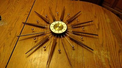 30 1/4 Brass Metal ELGIN SUNBURST Starburst WALL CLOCK Mid Century Modern Atomic