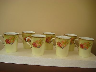 7 Antique P T Bavaria Hand Painted Delicate Cups Mugs