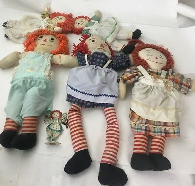 Lot Of Six Raggedy Ann And Andy Dolls Lot #5