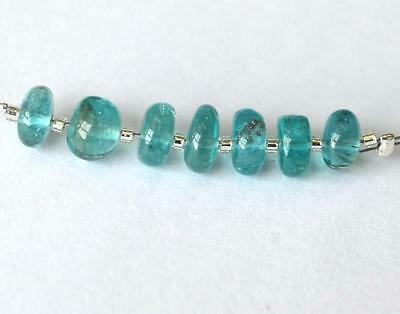 Apatite Beads Smooth Rondelle 5.5 - 6.5 Mm Natural Gemstone 8 Cts - 7 Pcs @1466