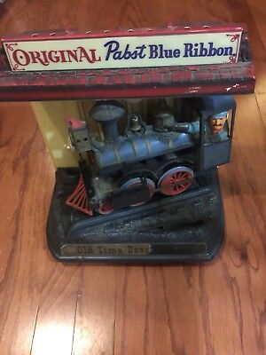 Vintage Pabst Blue Ribbon Motion Train Locomotive Beer Sign Advertising Rare