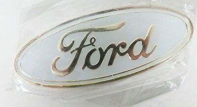 AS NEW 115mm X 46mm WHITE FORD BADGE - GS253