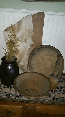 2 Antique Primitive Wooden Dough Bowls, Masher small crock & grungy pantry towel