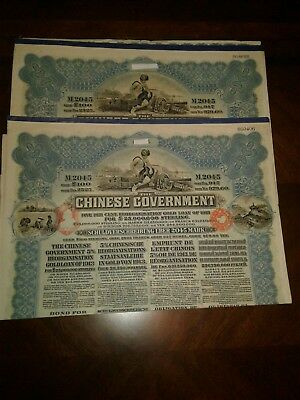 Very Rare Blue 100 Pound Chinese 1913 Chinese Reorganisation Gold Bonds