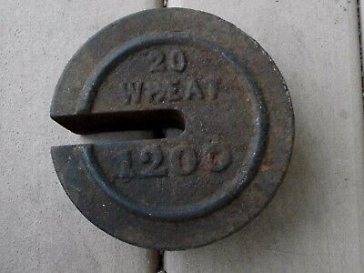 Vintage Slotted Scale Weight Large Cast Iron 20/WHEAT/1200 Weight