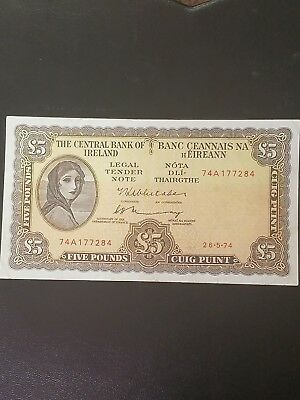 1974 central bank of Ireland republic 5 pounds lady lavery