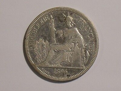 1896 French Indo China 1 Piastre