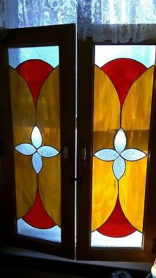 Lot of 2 stained glass window panels shutter style