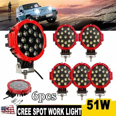 6PCS 51W LED Work Light CREE Spot Driving Off-road ATV SUV 4WD Truck Fog Lamp