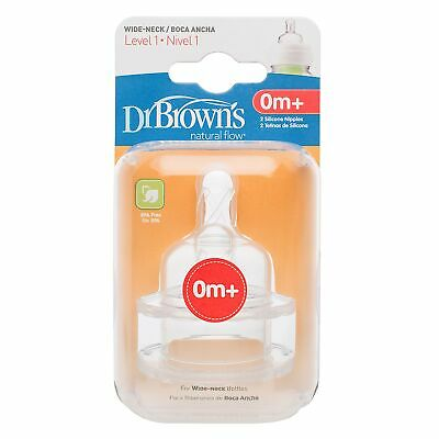 Dr Brown's Replacement Baby / Child Feeding Bottle Teat - Twin Pack - Level 1
