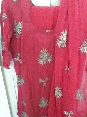 Shocking Pink Embroidery 3 Piece awesome New dress for Women ....