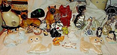 Lot of 37 Assorted Cat Figurines, Big & Small