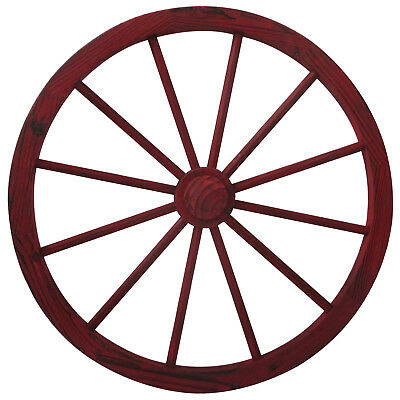 Red Rustic Wood Wash Wagon Wheel With Hub- 30inch by Leigh Country