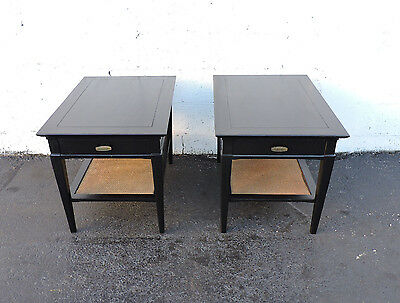 Mid Century Pair of Painted Black Side End Tables nightstands by Hammary 7445