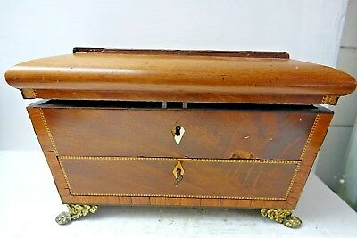 Very Old Wooden Tea Caddy With Pull Out Drawer - Very Rare - Restoration Project