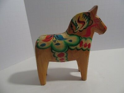 Vintage Small Hand Carved and hand painted wood Swedish Dala Horse folk art