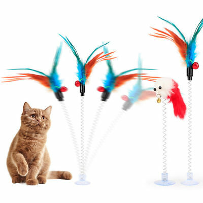 Hot Funny Cat Toys Multicolored Sucker With Spring Plush Mouse Pet Lovely Toys