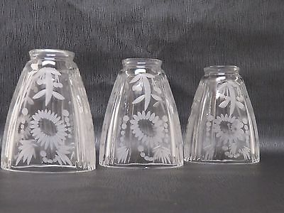 """3 Matching Lead Crystal Glass Chandelier Shades--4 7/8"""" Tall--Very Nice!"""