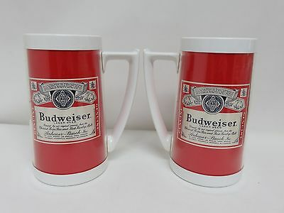 Vintage Budweiser Beer Thermo-Serv Plastic Mugs Lot of 2