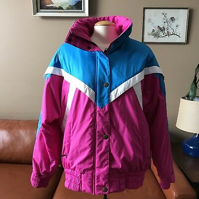 Vintage Rugged Terrain Ski Jacket 80s Winter Snow Coat Padded Neon Pink Women L